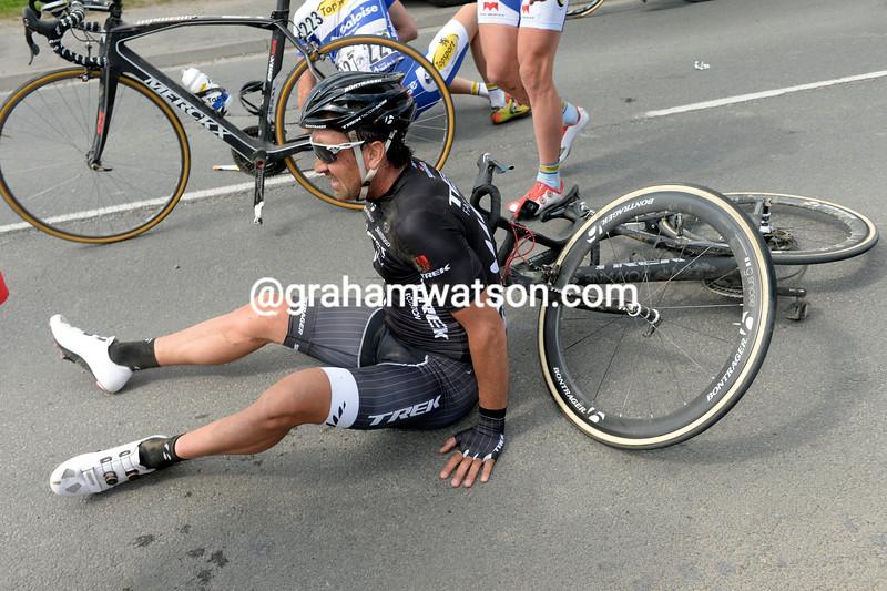 Hayden Roulston falls in the 2014 Paris-Roubaix