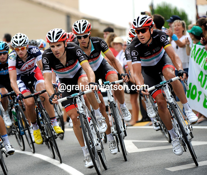 Markel Irizar and Hayden Roulston on stage two of the 2012 Vuelta EspaÒa