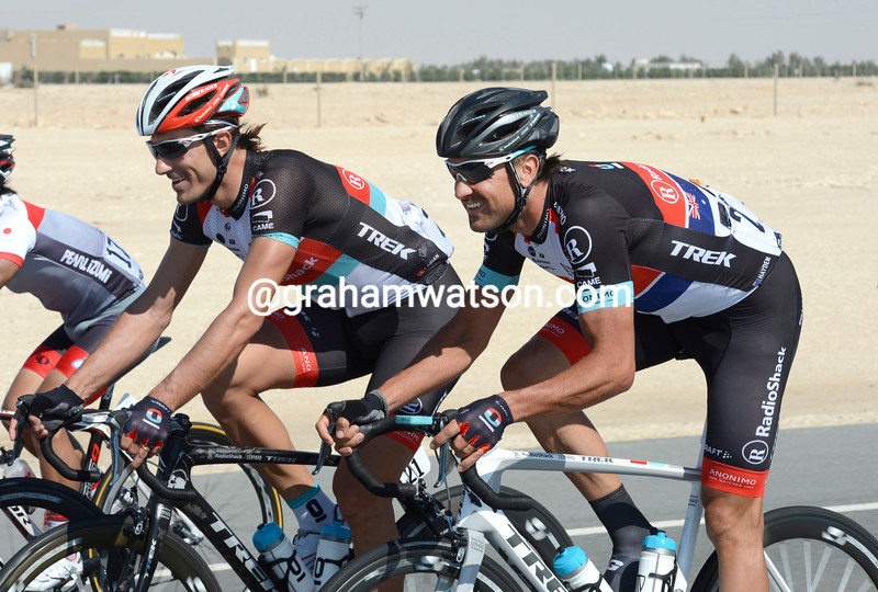 Fabian Cancellara and Hayden Roulston on stage 4
