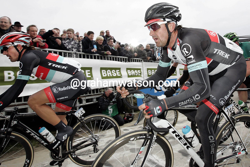 Fabian Cancellara and Hayden Roulston in the 2013 Tour of Flanders