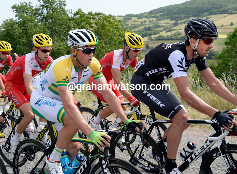 Simon Gerrans and Hayden Roulston on stage two of the 2014 Dauphine-Libere