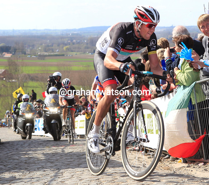 Hayden Roulston climbs the Paterberg in the 2012 Tour of Flanders
