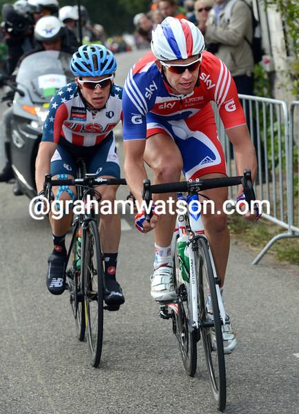 Ian Stannard and Andrew Talansky in the 2012 mens road race world championships