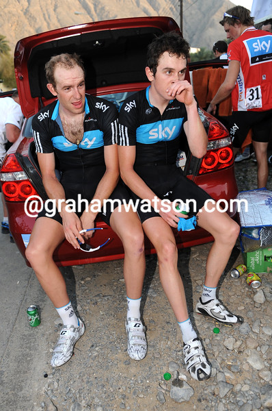 IAN STANNARD AND GERAINT THOMAS AFTER STAGE FOUR OF THE 2010 TOUR OF OMAN
