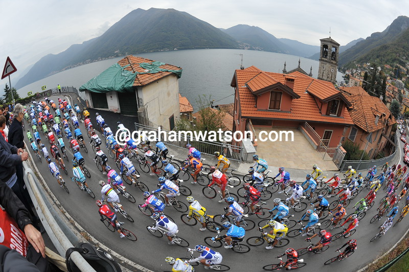 The 2008 Giro di Lombardia climbs the Passo d'Intelvi