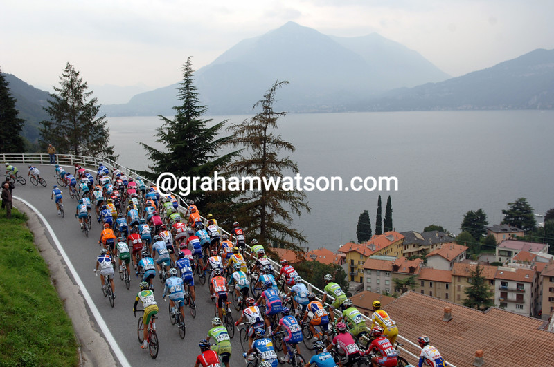 THE TOUR OF LOMBARDY CLIMBS ABOVE THE LAKE OF COMO