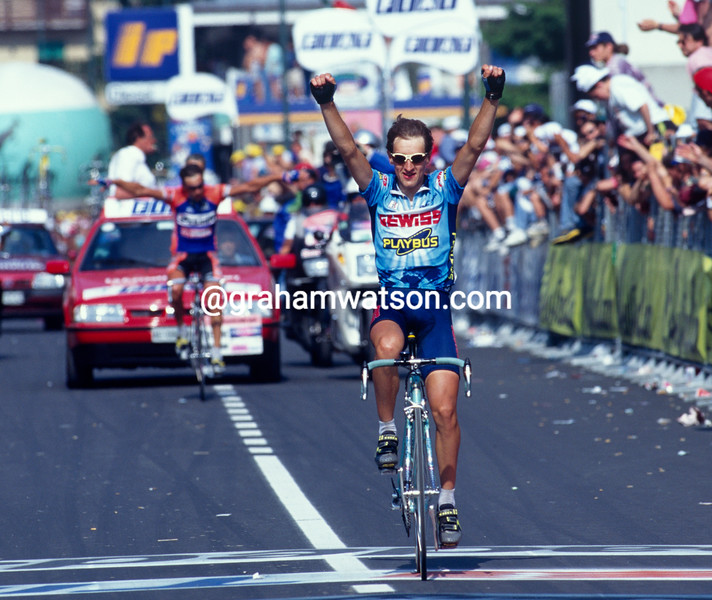 Ivan Gotti wins a stage of the 1996 Giro d'Italia