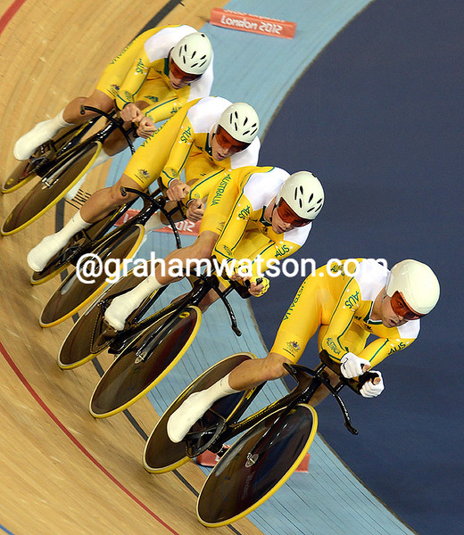 Jack Bobridge leads Australia in the Team Pursuit at the 2012 Olympic Games