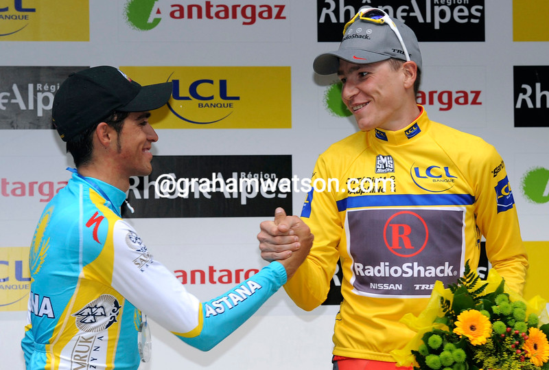 JANI BRAJKOVIC AND ALBERTO CONTADOR ON STAGE SEVEN OF THE 2010 DAUPHINE-LIBERE