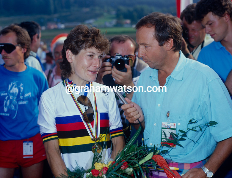 Jeannie Longo after winning the 1987 World Championships