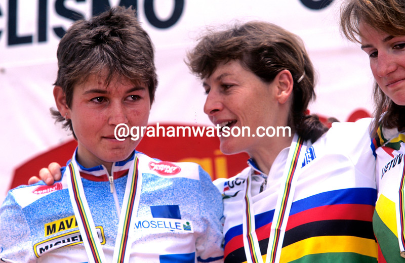 Jeannie Longo and Catharine Marsal at the 1995 World Championships