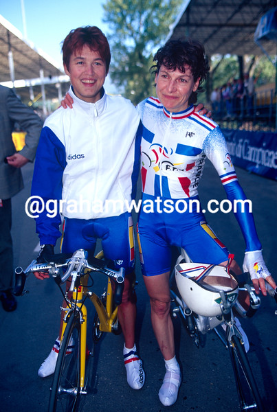 Jeannie Longo and Catherine Marsal in the 1996 World Championships