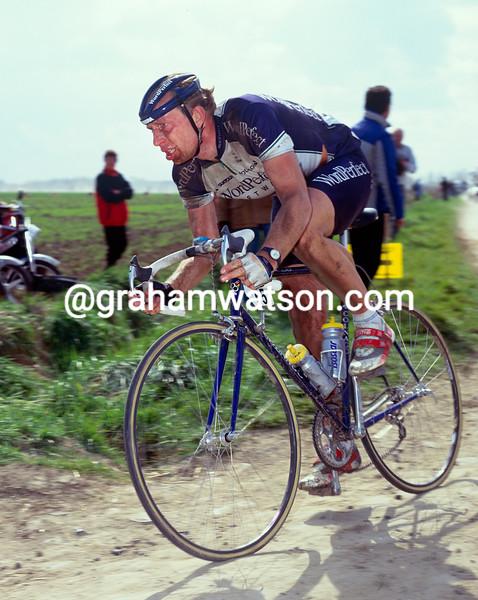 Jelle Nijdam in the 1991 Paris-Roubaix
