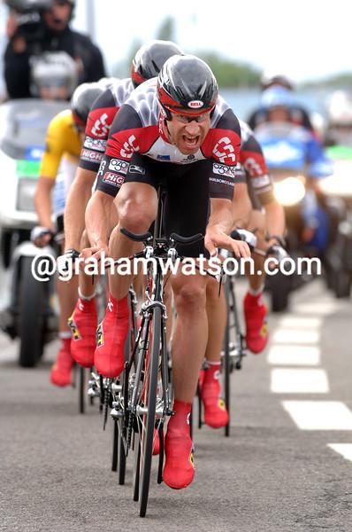 Jens Voigt leads CSC in the 2005 Tour de France