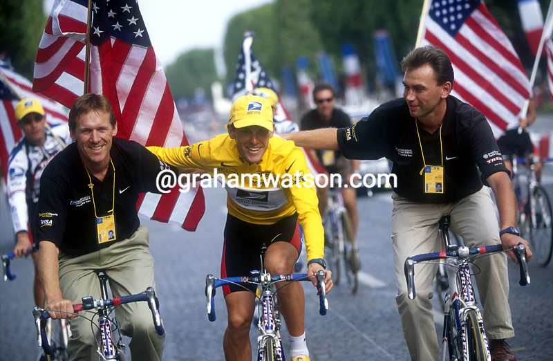 JOHAN BRUYNEEL WITH LANCE ARMSTRONG AND DIRK DE MOL
