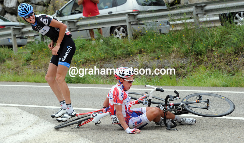 JURI TROFIMOV AND JOHAN VAN SUMMEREN HAVE CRASHED ON STAGE FIFTEEN OF THE 2011 TOUR OF SPAIN