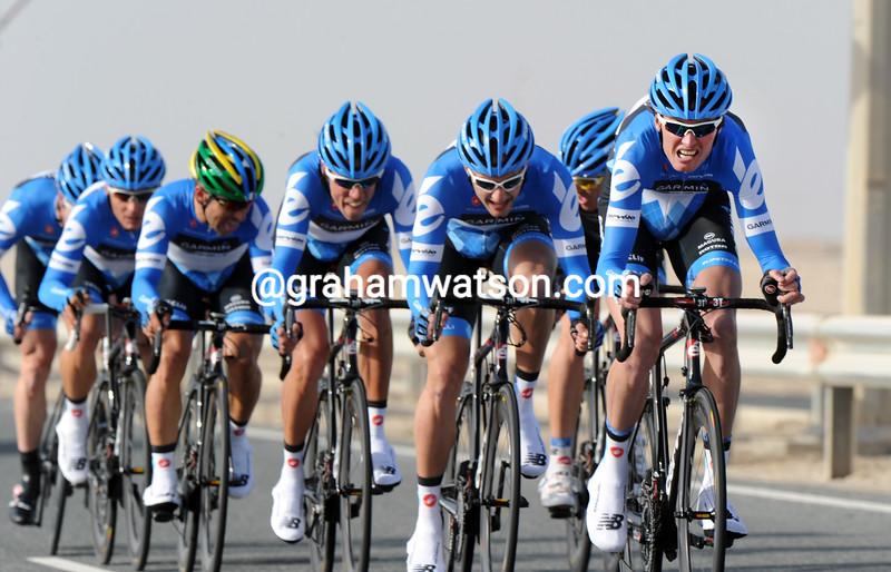 Johan Van Summeren leads Team Garmin on stage two of the 2012 Tour of Qatar