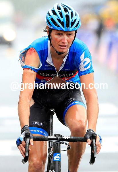 Johan Van Summeren after a crash on stage six of the 2012 Tour de France