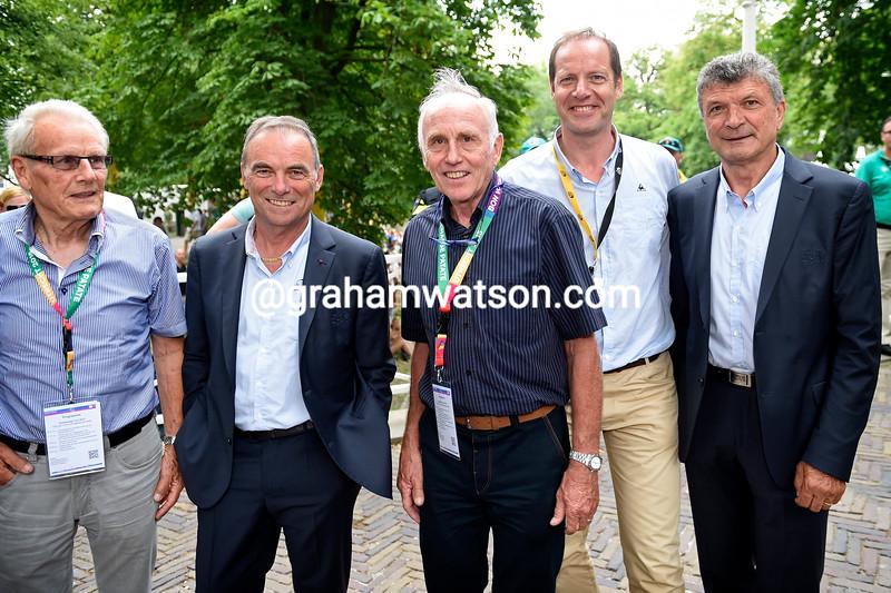 Jan Janssen, Bernard Hinault, Joop Zoetemelk, Bernard Hinault, Christian Prudhomme of ASO cycling director and Bernard Thevenet during the Team Presentation of the 2015 Tour de Francet
