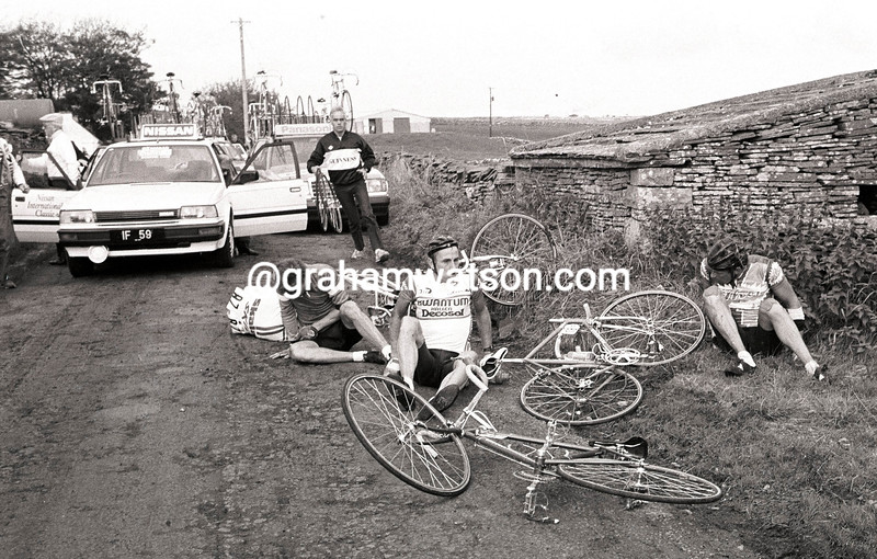 A TV MOTORBIKE HAS CRASHED IN THE 1986 TOUR OF IRELAND
