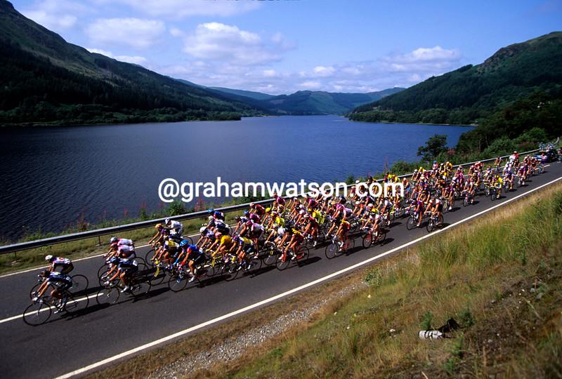 The peloton in the Tour of Britain