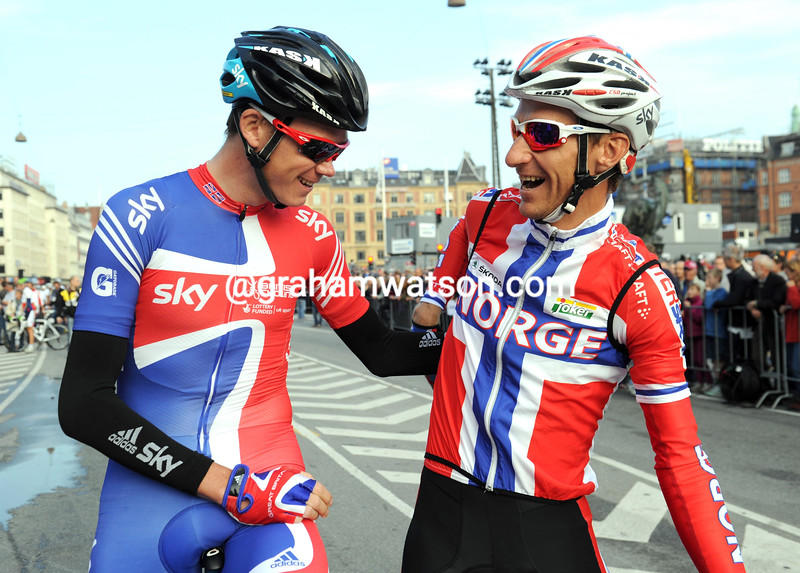 CHRIS FROOME AND KURT-ASLE ARVESEN BEFORE THE 2011 WORLD CHAMPIONSHIP