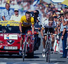 Lance Armstrong and Jan Ullrich finish a stage to Luz-Ardiden in the 2001 Tour de France