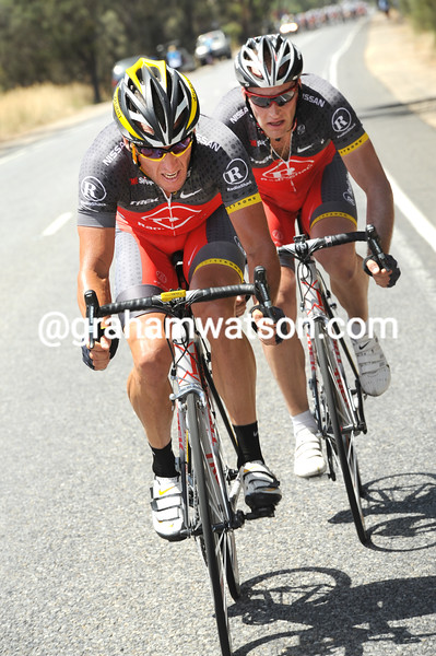 Lance Armstrong attacks with Thomas Vaitkus in the 2010 Tour Down Under