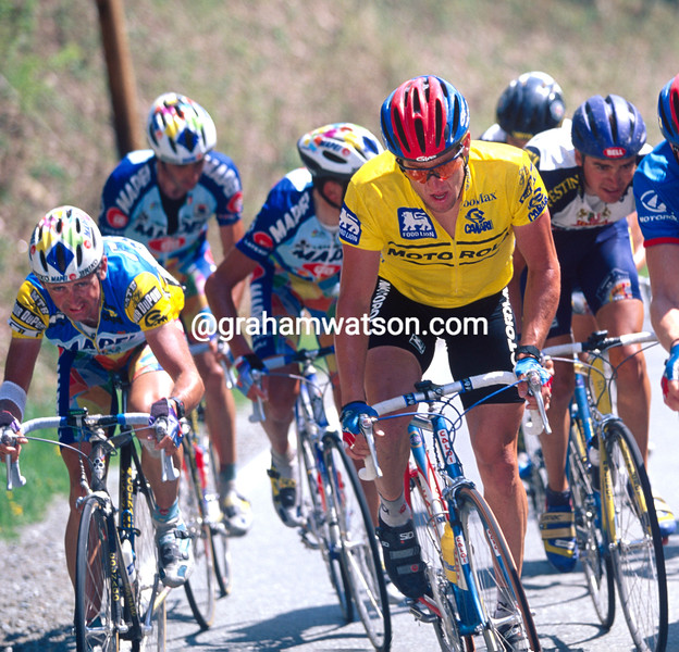 Tony Rominger with Lance Armstrong in the 1996 Tour DuPont