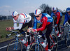 Lance Armstrong and Sean Yates warm-up for a TTT in 1993