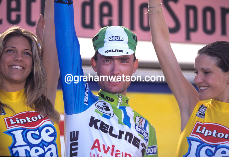 Laudelino Cubino after winning a stage of the 1994 Giro d'Italia
