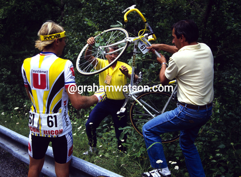 Laurent Fignon after crashing in the 1987 Tour de France