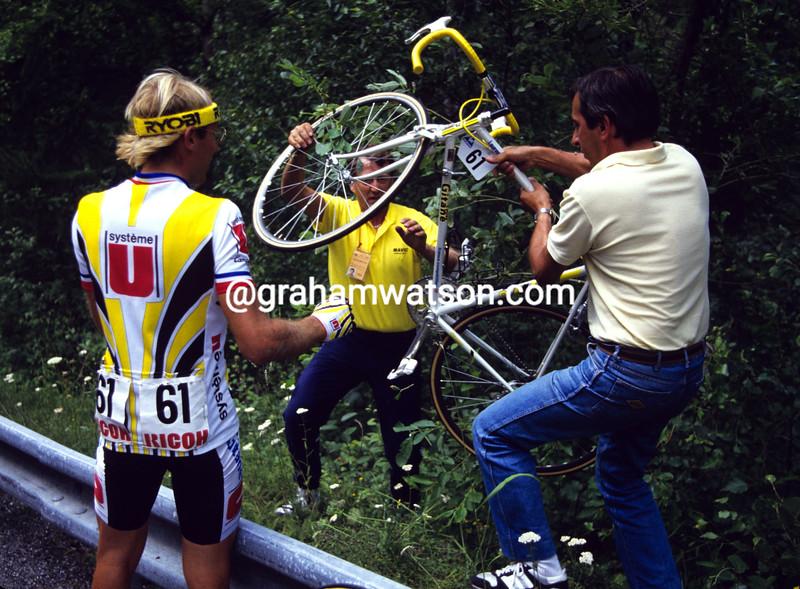 Laurent Fignon after crashing in the 1987 Tour de France