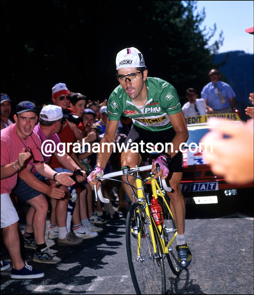 Laurent Jalabert races to victory on a stage of the 1995 Tour de France