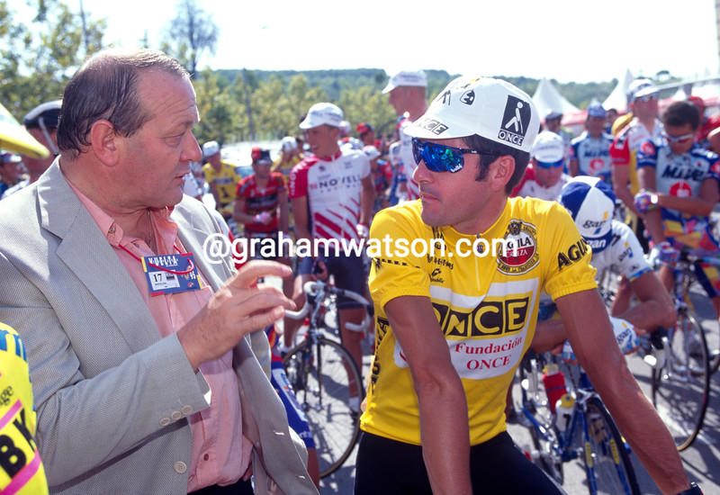 Laurent Jalabert with Jean-Marie Leblanc in the 1995 Vuelta a Espana