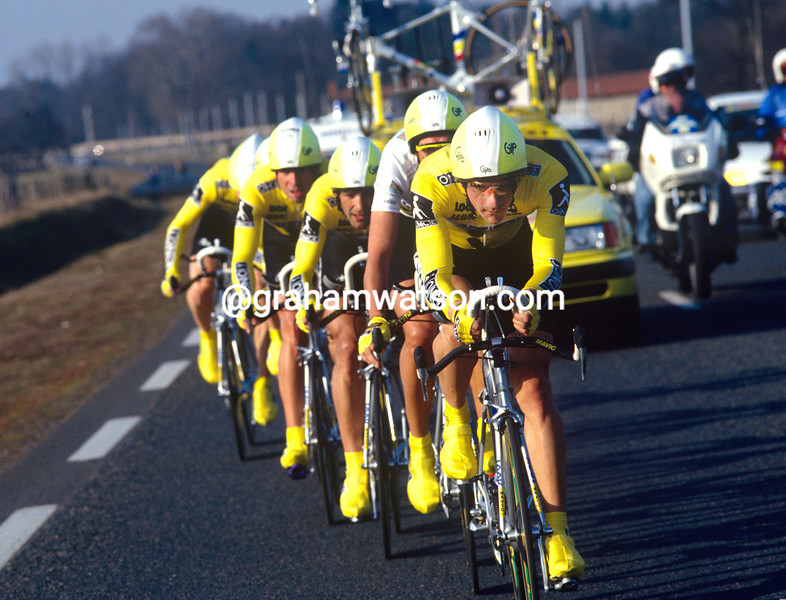 Laurent Jalabert leads ONCE in the 1993 Paris-Nice TTT