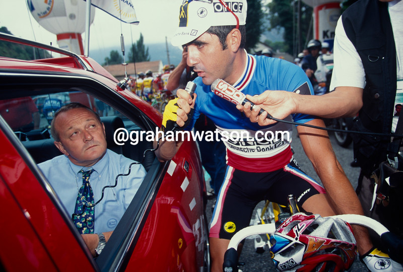 Laurent Jalabert declares a strike on a stage in the 1998 Tour de France