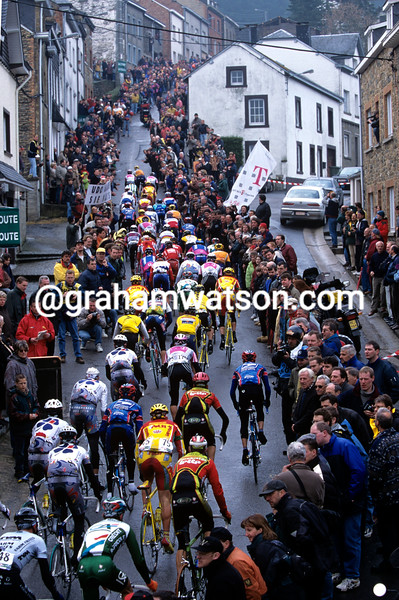 Cyclists in the 1999 Liege-Bastogne-Liege