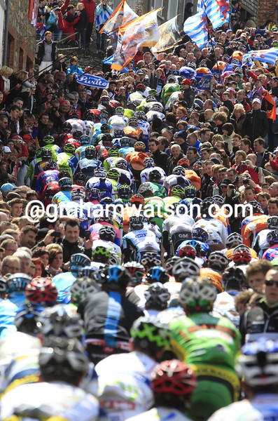 The peloton climbs the Cote de Saint Roche the 2012 Liege-Bastogne-Liege