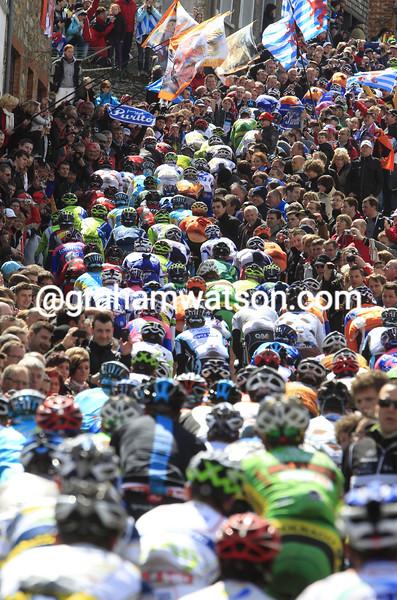 The peloton climbs the Cote de Saint Roche the 2012 Liege-Bastogne-Liege