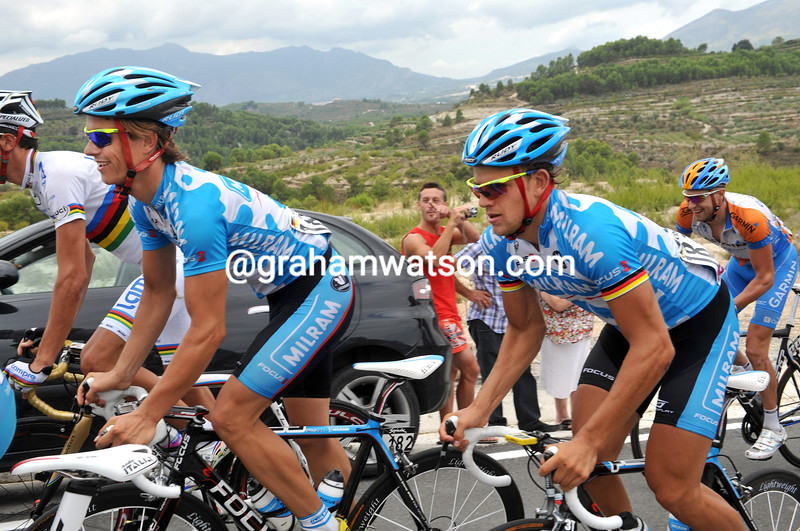LINUS GERDEMANN AND GERALD CIOLEK ON STAGE EIGHT OF THE 2009 TOUR OF SPAIN