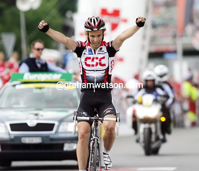 Linus Gerdemann wins stage seven of the 2005 Tour de Suisse