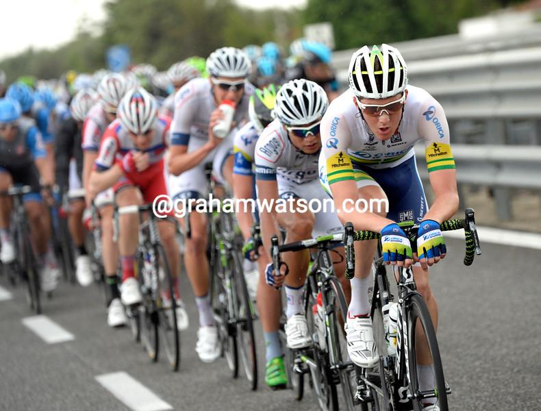 Luke Durbridge chases on stage five at the 2013 Giro d'Italia