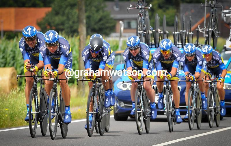Luke Roberts leads the Saxo Bank TTT at the 2012 Eneco Tour
