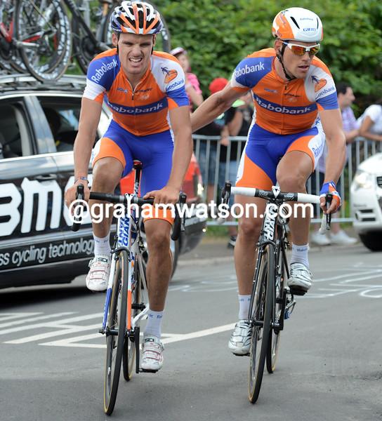 Luis Leon Sanchez after a crash on stage one of the 2012 Tour de France
