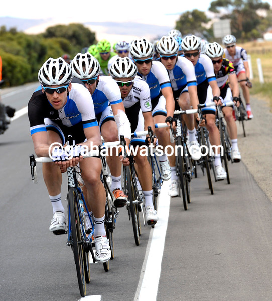 The Blanco team chases on stage five of the 2013 Tour Down Under