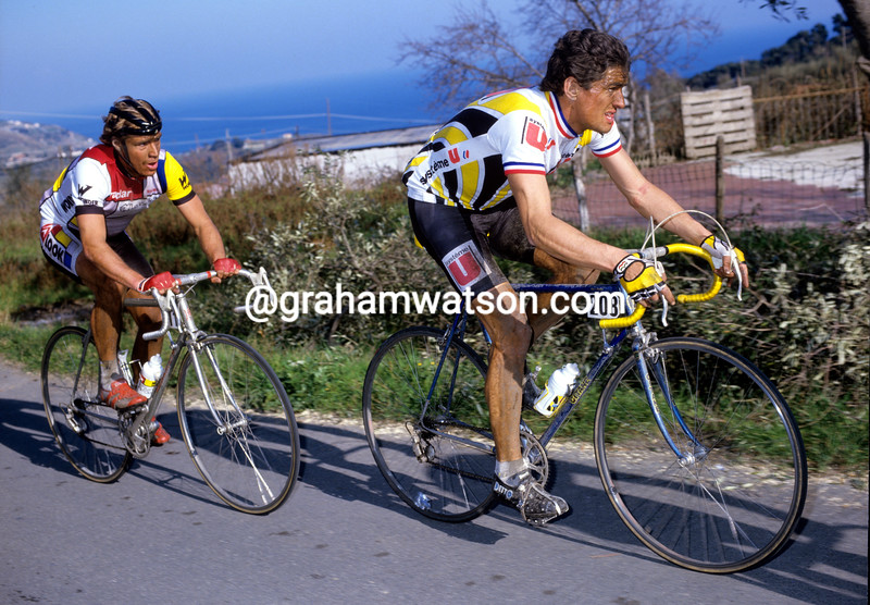 Marc Madiot and Steve Bauer in the 1984 Giro di Lombardia