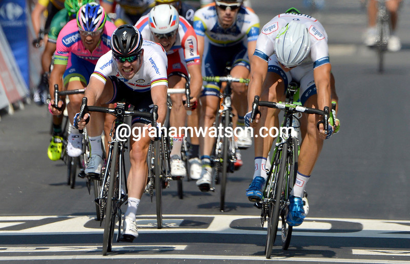 Marcel Kittel and Mark Cavendish on stage twelve of the 2013 Tour de France