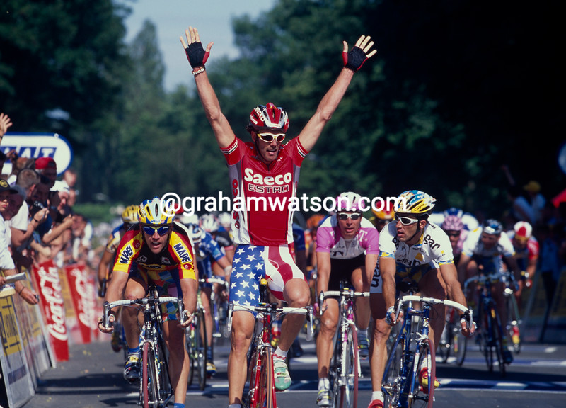 Mario Cipollini wins a stage of the 1994 Tour de France