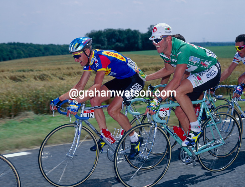 Wilfired Nelissen and Mario Cipollini in the 1994 Tour de France